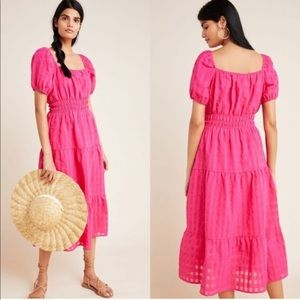 Anthropologie Hot Pink Francesca Tiered Midi Dress
